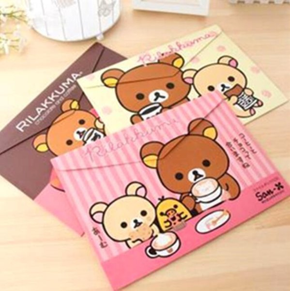 12pcs/lot New Japan cartoon bear paper A4 documents file bag Kawaii File folder stationery Filing Production fashion gift