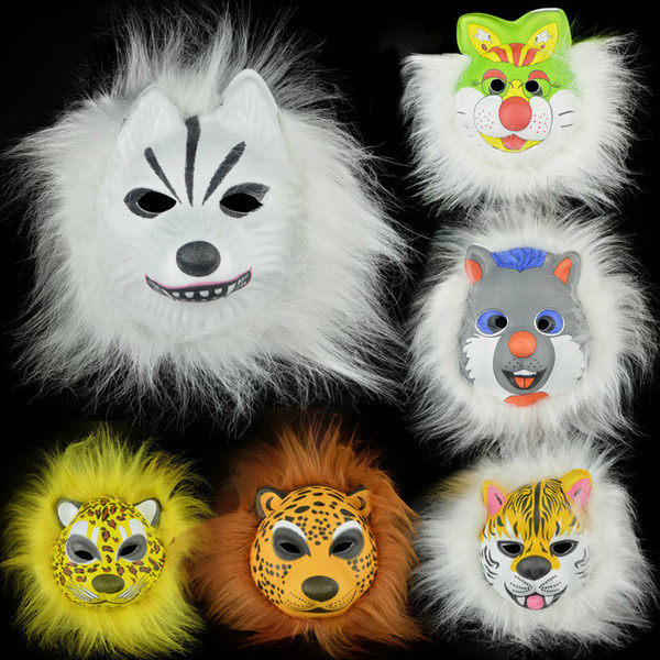 Plush animal masks lion leopard Fox dog children EVA mask Halloween costumes mask toy gift for KID Hallowmas party cosplay prop headgear HOT