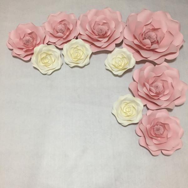10pcs set Large Handmade Cardboard Paper Rose Flowers Showcase Wedding Backdrops Props flores artificiais para decora o Mix Size