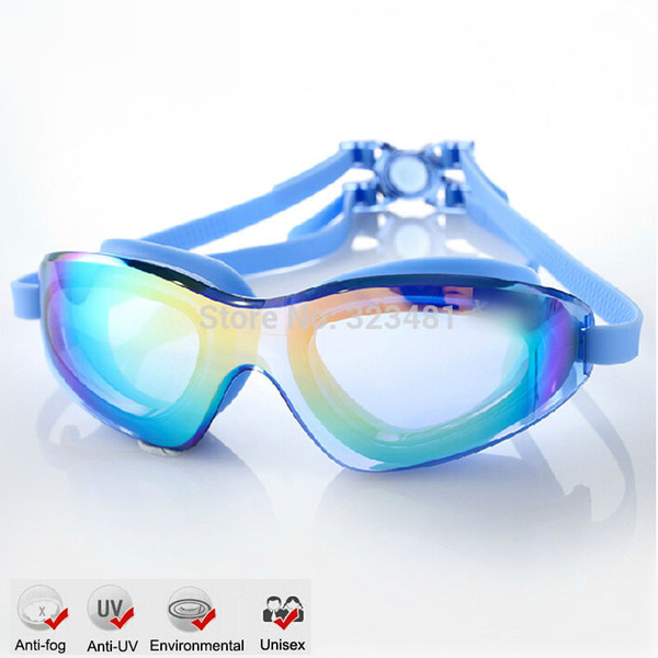 best selling Large Frame Gel Silicone Anit Fog Swimming Goggles Anti-UV Swimming Pool Training Glasses Men Women Swim eyewear