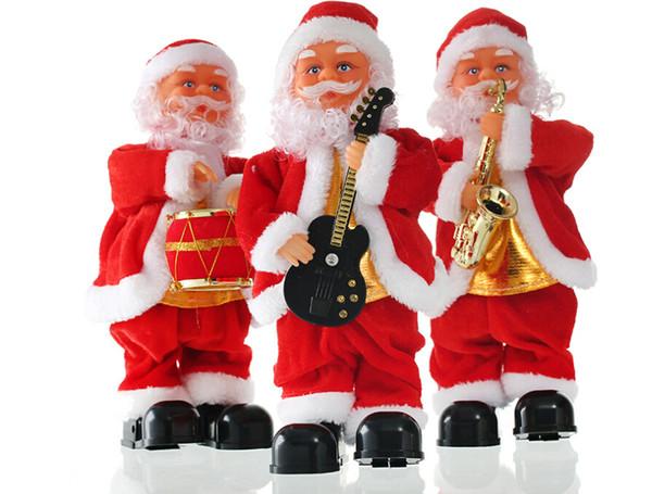 Kostenloser versand Großhandel Schlag saxophon Weihnachten musik alter mann elektrische schritt weihnachtsschmuck puppe kinder spielzeug