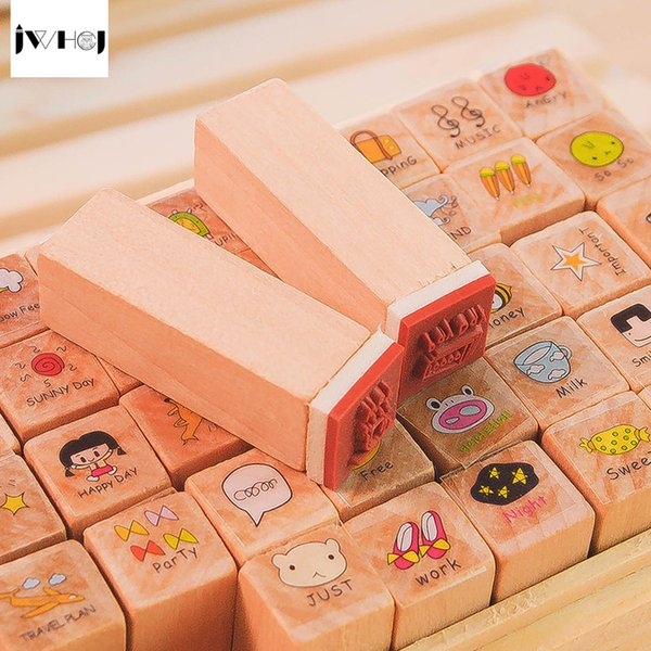 40 PCS/set Mini happy day wooden rubber stamp gift box sets Crafts diy Handmade decal scrapbooking Photo Album