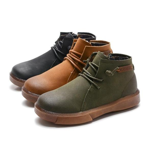 2019 otoño e invierno niños y niñas zapatos top-top transpirable con cremallera big boy casual viento británico zapatos de cuero botas