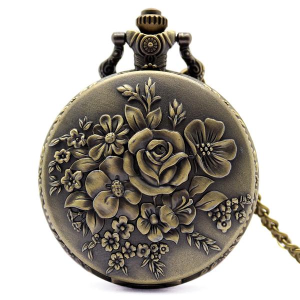 Vintage Delicate 3D Flowers Pattern Sculpture Pendent Analog Quartz Pocket Watches Men Women Children Boy Girl Lovers Birthday Gift Clock