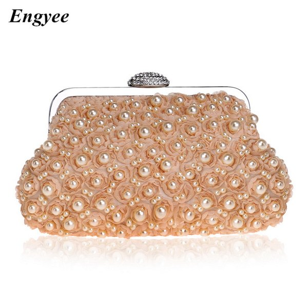ENGYEE Fashion Women Wallet Clutch Ladies Small Hand Bag Female Pearl Dressed Day Clutches Crystal Evening Bag Women Phone Purse