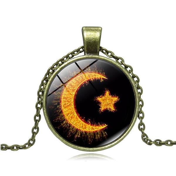 Heat Necklace Woman Cabochon Choke New Moon Islam Amulet Glass Pendeloque Cut