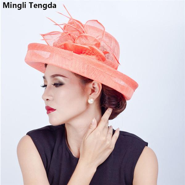 2018 New Wedding Accessories Ivory/Blue Bridal Headdress Linen Headdress Wedding Hats for women Feather Fascinator Wedding Hat Mingli Tengda