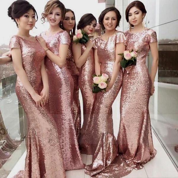 Rose Gold Mermaid Bridesmaid Dresses Mermaid Short Sleeve Sweep Train Plus Size Bridesmaid Dress Wedding Party Dress MB071