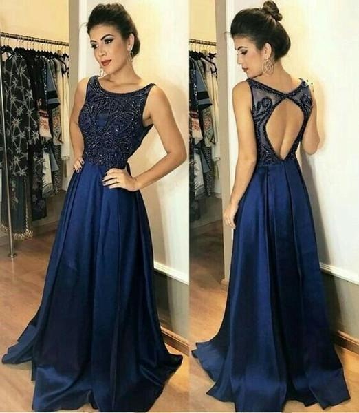 Compre Vestido Azul Marino Vestido Formal Vestidos De Fiesta 2019 Scoop Espalda Abierta Rebordear Cristal Vestidos De Noche De Una Línea Vestido De