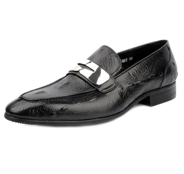 Mode Braun / Schwarz Herren Kleid Schuhe Aus Echtem Leder Kausalen Business Schuhe Männliche Hochzeit Bräutigam Schuhe dha53