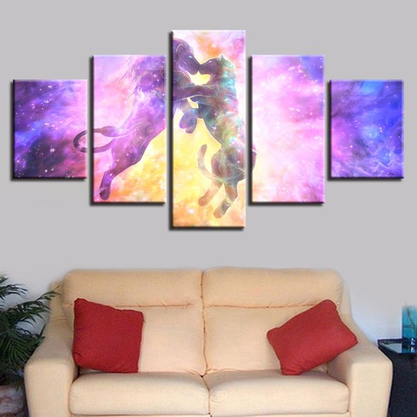 Home Decor 5 Panel Color Abstract Nebula Lion Constellation Picture Living Room Canvas Poster Wall Art Modular HD Print Painting