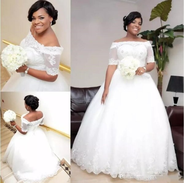 Nigeria Lace Off Shoulder Wedding Dresses Sheer Half Sleeves Beaded Lace Up Plus Size Bridal Gowns A Line African Wedding Vestidos