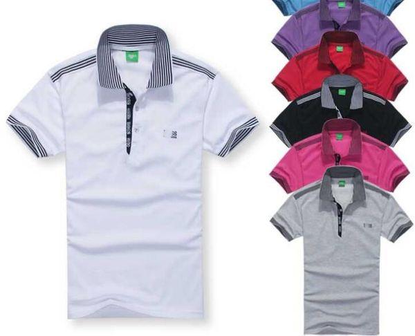 top popular Designer Polo Shirts Summer Hot Sale Boss Lapel Polos Cotton Shirt Men Short Sleeve Sport Polo Striped Fashion Casual New High Quality 2019
