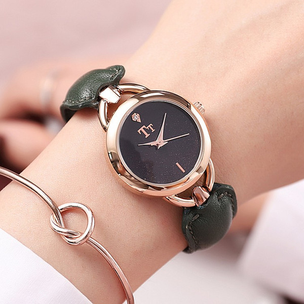 TT Explosion Models New Rose Gold Shell Bracelet Ladies Watch Fashion Trend Personalized Leather Strap Female Watch with Bracelet