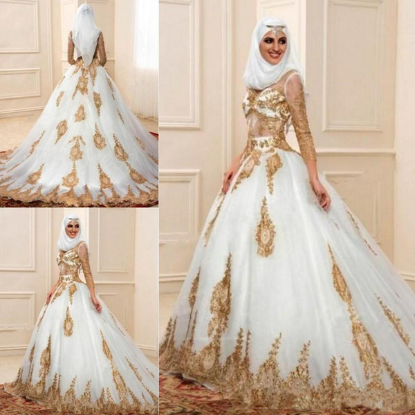 2444b2e24b 2018 Cheap Muslim Wedding Dresses Sheer Neck Ball Gown Golden Sequins Beads  Sweep Train Plus Size Tulle Formal Bridal Wearing
