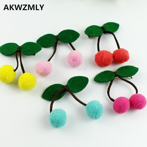 2017 New Arrivals 6Pcs Cherry Hairpin Cute Candy Color Girl Hair Clips Green Leaf Cotton Hair Accessories Princess Kids Gift