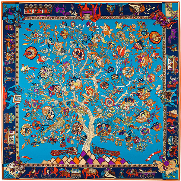 best selling Square Tree Floral Print Scarf Women Shawls Foulard Femme Blue Large Twill Silk Scarfs Dropshipping 130*130CM