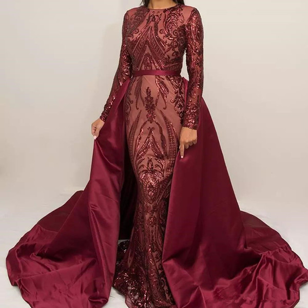 Luxury Burgundy Formal Evening Dresses 2018 Long Sleeve Zuhair Murad Dress Mermaid Jewel Neck Sequined Prom Gown With Detachable Train
