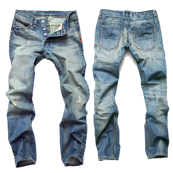 Man Fashion Designer Jeans Men Cotton Straight Dark Blue Zipper Jeans Ripped Cylinder Thin Cowboy Jean Trousers