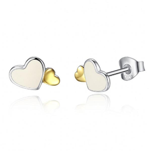 2018 New Authentic 925 Sterling Silve Stud Earrings Luminous Hearts Romantic Earring Gold Color Earings For Women Fine Jewelry
