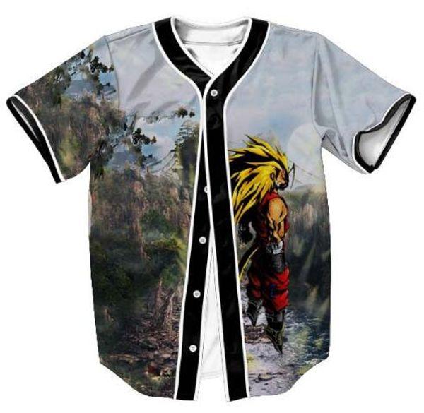 Hot 3D Cartoon T Shirt Print Dragon Ball Z Goku Saiyan Baseball Jersey T Shirt Design Summer Short Sleeve Button Cardigan Tops