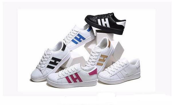 Hot 2018 Moda para hombre Zapatos casuales Superstar Mujer Zapatos planos Mujer Zapatillas Deportivas Mujer Amantes Sapatos Femininos para hombres