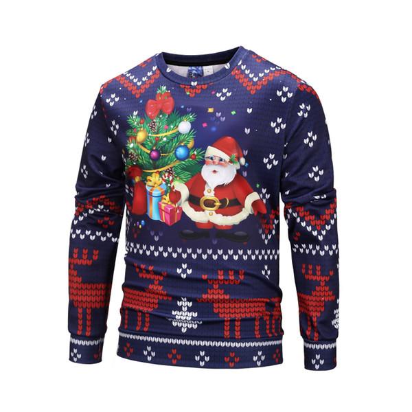 Großhandelsweihnachtsfarben-Karikatur-Geschenk-Druck-Pullover-Qualität Crewneck-Strickjacken Weihnachtsmann-Baum-Art- und Weiseunisexhoodie # WY808608