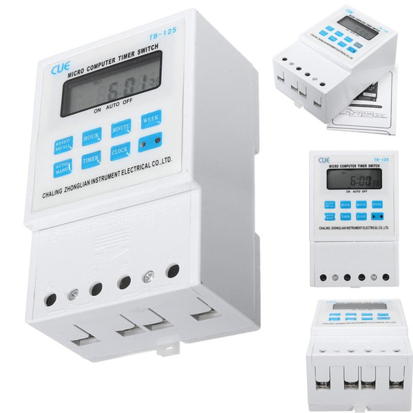 220V 25A LCD Digital Micro Computer Programmable Time Clock Timer Switch Relay 120mmx74mmx53mm