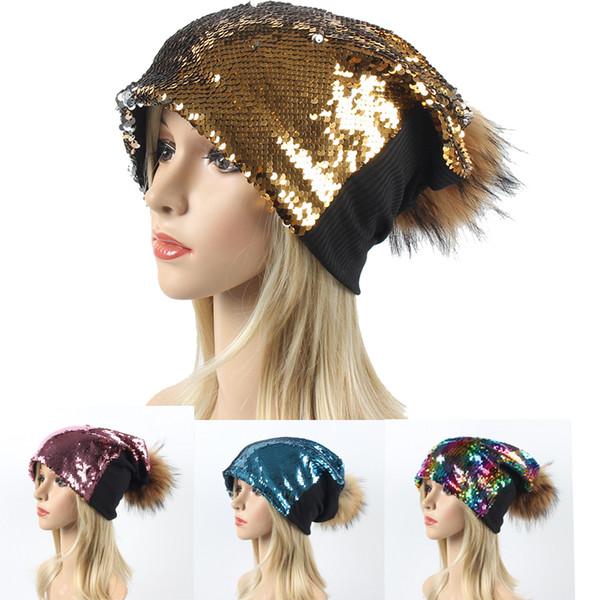 Party Sequin Caps Women Sequins Beanies Hat Unisex Dance Magical Reversible Outdoor Hats Spring Autumn Christmas Hat 11 Color