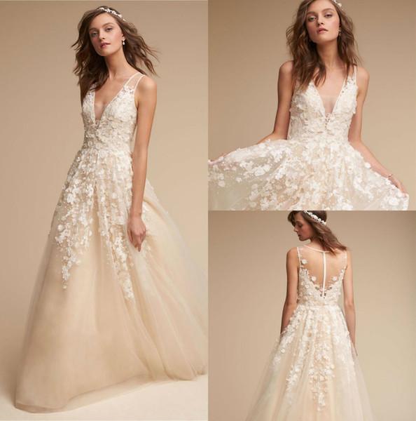 Discount 2018 Newest BHLDN Bohemia Wedding Dresses Champagne Delicate Lace  Applique Deep V Neck Beach Bridal Gowns Illusion Plus Size Wedding Dress ...
