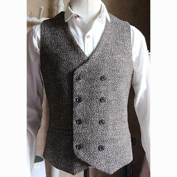 Nova Chegada de Alta Qualidade Colete do Homem Dupla Breasted Inglês Estilo Colete Homens Vintage Vestido Formal Casamento Terno colete