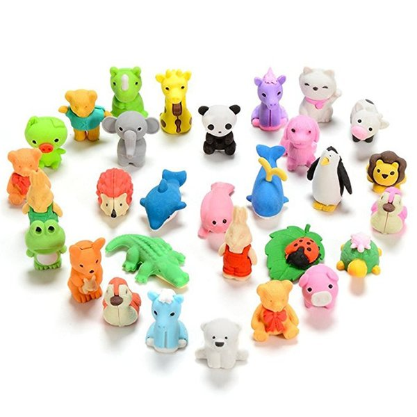 Cute Animal Pencil Eraser Novelty Learning Toys For Student Children Cartoon Rubber Correction Eraser Mix Multi-color