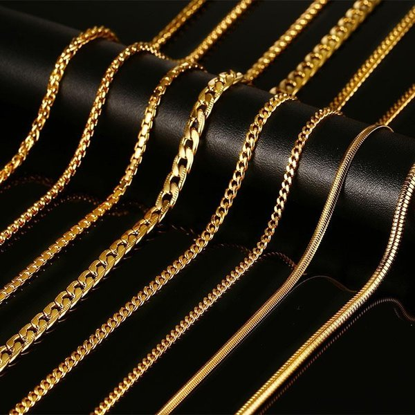 Wholesale- Meaeguet Gold-Color Chains Necklaces With Stamp Men Jewelry Women Stainless Steel Snake Chain 24inch