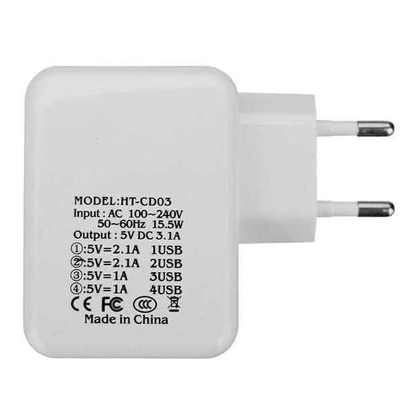 UE EE. UU. Enchufe 4 puertos Adaptador de cargador USB 5V 3.1A Cargador de pared USB HUB de carga rápida para iPhone / iPad para Samsung / Xiaomi