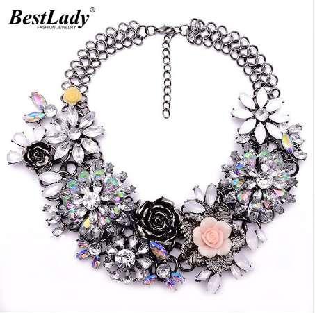 Best lady Fashion Luxury Crystal Flower Clear za Big Brand Party Jewelry Statement Shourouk Chain Choker Collar Necklace B124