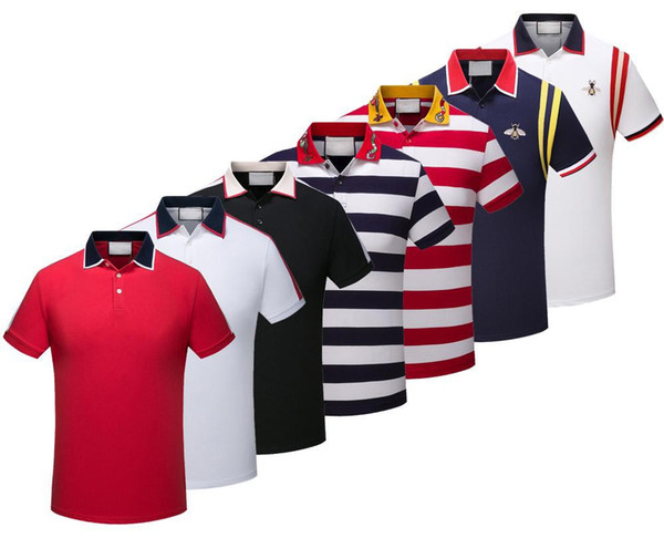 Spring Luxury Italy Tee Camiseta de diseñador Polo Shirts High Street Bordado de liga Snakes Little Bee Printing Clothing Mens Brand Polo Shirt
