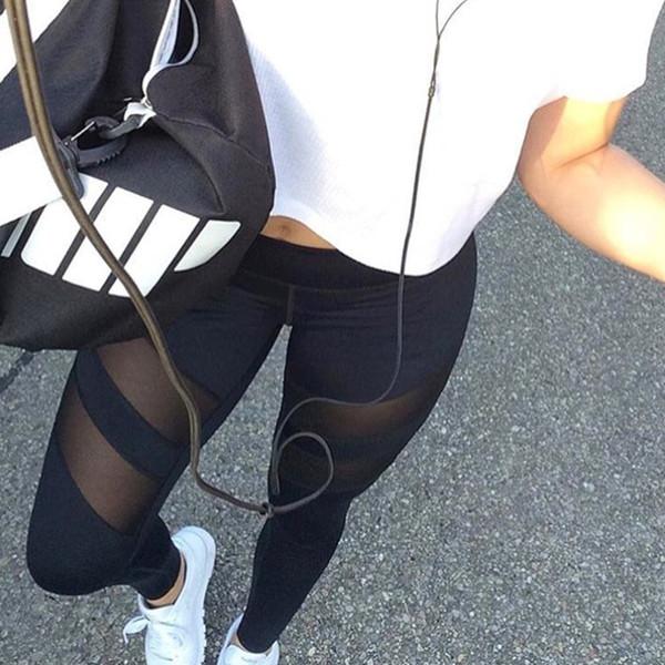 Europa sección de explosión de acoplamiento de costura sexy cintura alta ocasional apretado gimnasio deportivo pantalones de yoga polainas femeninas