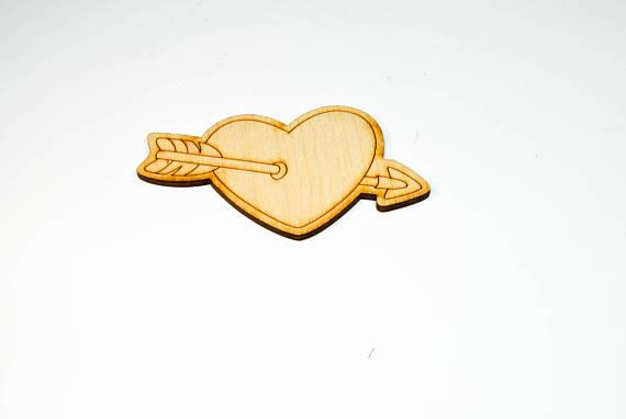 free shipping Wooden Arrow In Heart Shape Wood Cut Out Craft Ornament Laser Cut, Wedding Gift Tags