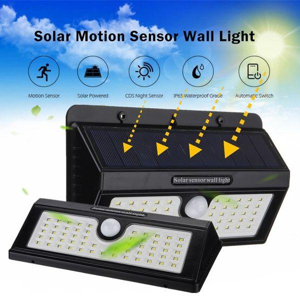 3 Modi Sensor Wandleuchte Outdoor Garten Rasen Lampe Wasserdicht 55 LED Solar Power PIR Bewegung Automatisch Sicherheit Schwarz Weg