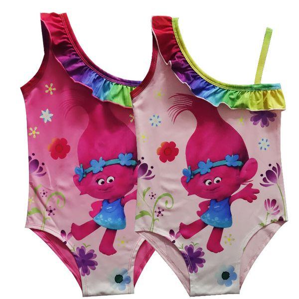 2018 Summer New Cute Cartoon Magic Elf Print Star Shoulders Girls Onesies Swimwear Pink Rose Red