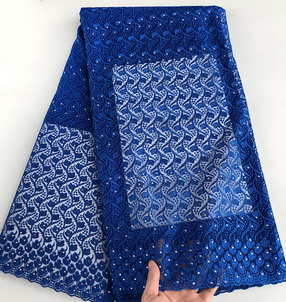 best selling plain blue High quality African tulle lace bridal French lace fabric 5 yards free shipping by DHL