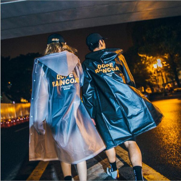 Original Tide Brand Spring And Summer New Long Letter Printing Solid Transparent Hong Kong Style Male Couple Models Waterproof Rain Coat