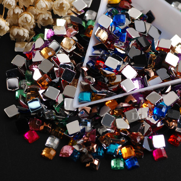 5mm 500pcs Mixed Colors Square Acrylic Glue On Flatback Rhinestones Gem Stones for Jewelry Clothes Crafts Decorations nail art