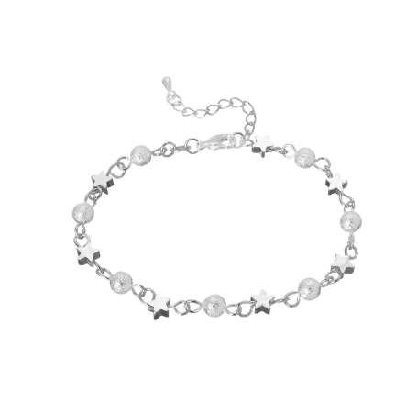 Silver Bracelet Women Summer Fashion Scrub Star Beads Bracelets Bangles Women Charm Jewelry Wedding Party Gift Bracelets 2018