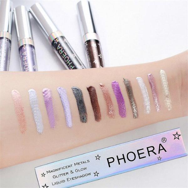 Calidad superior! PHOERA 12 colores Liquid Glitter glow Eyeshadow Resaltador impermeable y duradero DHL envío