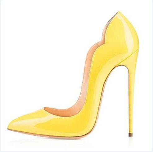 New extreme high heels shoes for woman 8cm 10cm 12cm party shoes thin heels slip-on ladies shoes plus size yellow blue purple customize