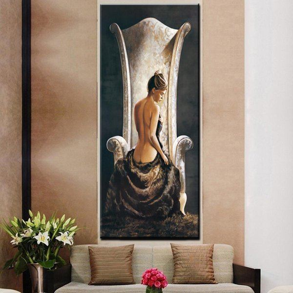 1 Piece Vintage Large Sexy Woman on Chair Oil Painting HD Print Girl Naked Body on Canvas Wall Art Picture No Framed