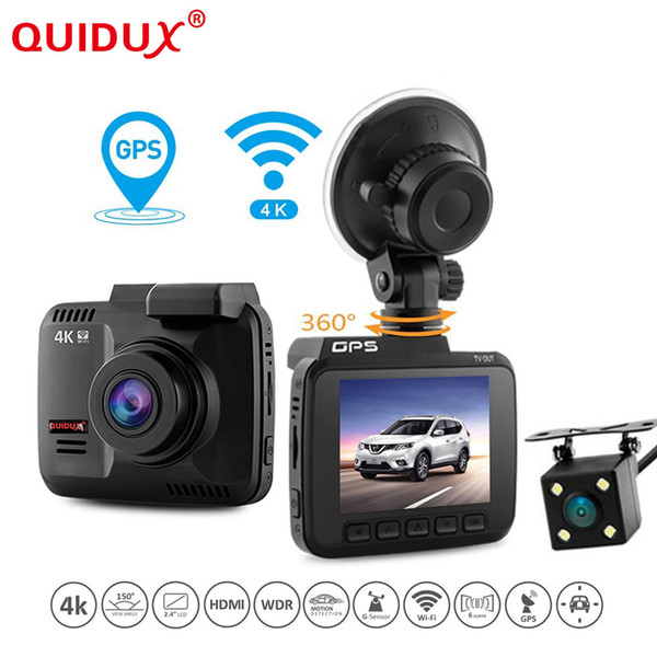 "QUIDUX 2.4"" Car DVR Wifi GPS Dual Camera Car DVRS Novatek 96660 Video Recorder Dash Cam Camcorder Full HD 1080P 4K 2160P"