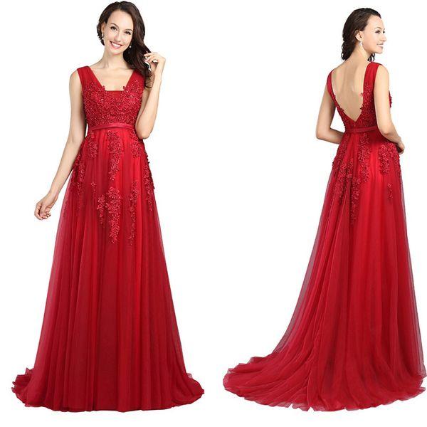 Long Bridesmaid Dresses A Line V Neck Backless Lace Long Evening Dresses Vestido de la dama de honor