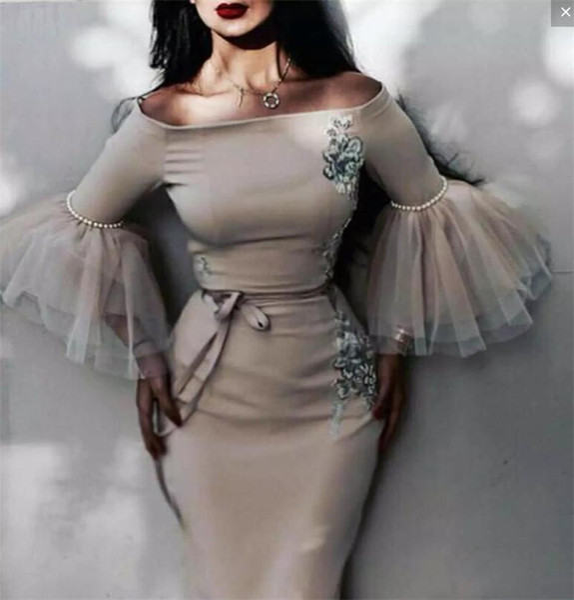 Вечерние платья русалки из Саудовской Аравии с аппликациями в виде поэтов с рукавами